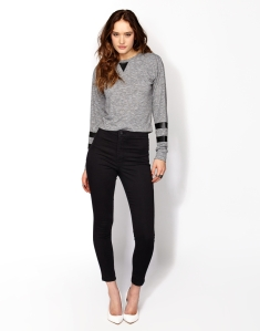BLACK SKINNY LUXE JEAN  $35.00  SPACEDYE LONG SLEEVE TOP $25.00 comes in black and grey!